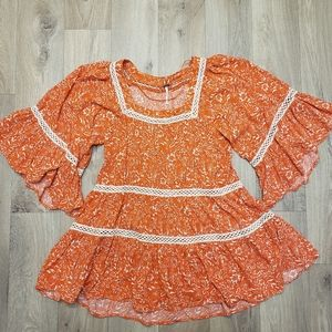 Free People Tops - Free People Orange Talk About It Tunic Size XS